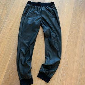 BCBG faux leather joggers